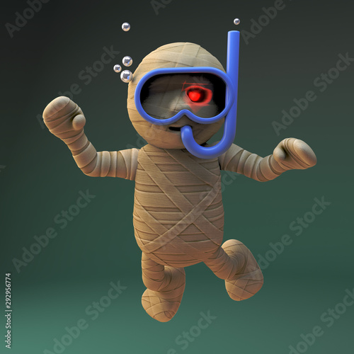 Cartoon 3d Egyptian mummy monster scuba diving with a snorkel and swimming mask, 3d illustration Wall mural