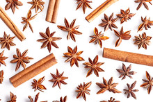 Cinnamon Stick And Star Anise Spice Isolated On White Background Closeup - Pattern