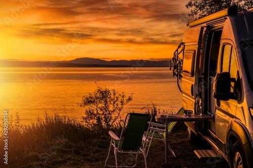 Fotografie, Obraz RV Camper Van Camping