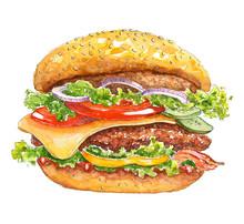 Watercolor Burger. Beef Hambur...