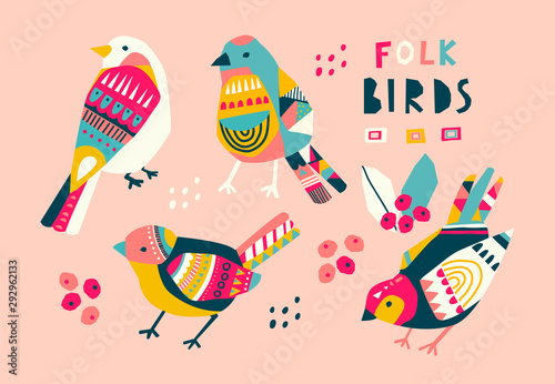 Various birds with different folk ornaments Canvas