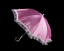 Pink Umbrella On Black Backgr...