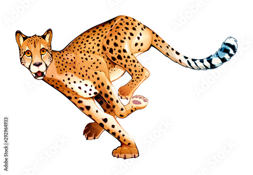 Poster Kinderkamer Running cheetah in horizontal pose