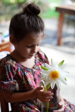A Little Girl With Her Hair In A Bun, Putting A Lotus Flower Into A Vase