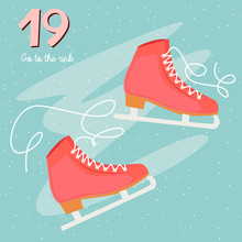 Christmas Advent Calendar, Day 19. Go To The Rink And Ice Skating. Lifestyle Vector Illustration.