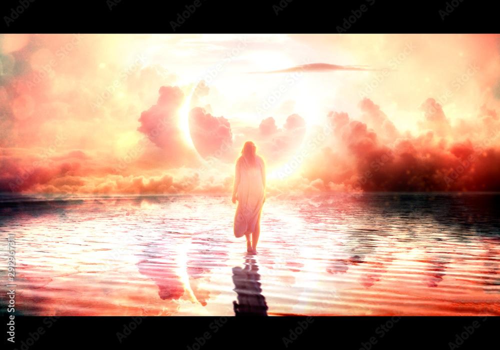 Fototapety, obrazy: Artistic illustration of a female jesus walking on water towards paradise
