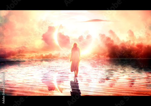 Fotografie, Tablou Artistic illustration of a female jesus walking on water towards paradise