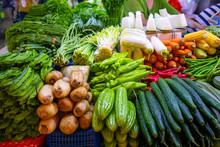 Fresh Vegetables And Fruits At...