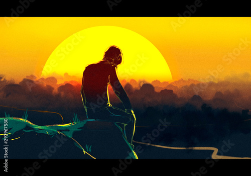 Cuadros en Lienzo Abstract Sad Artist setting alone On Top Of A Mountain