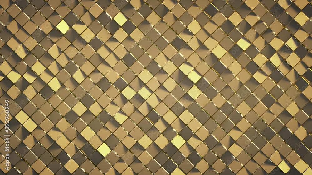 Fototapeta Yellow wall with rhombus shapes 3D render