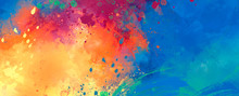 Bright Abstract Watercolor Dra...