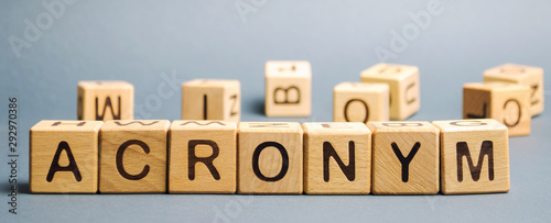 Photo Wooden blocks with the word Acronym