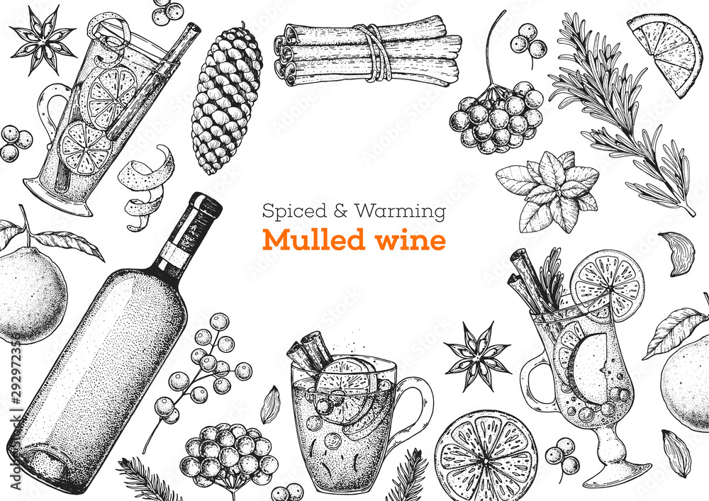 Fototapety, obrazy: Mulled wine, winter hot drink. Hand drawn sketch. Vector illustration. Christmas invitation design template. Sketch collection. Christmas bar menu. Mulled wine and tea.