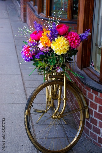 Foto op Plexiglas Bike with Basket of Flowers