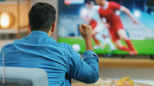 Fotografie, Obraz At Home Sports Fan Watches Important Soccer Match on TV, He Aggressively Clenches the Fist, Cheering for His Team