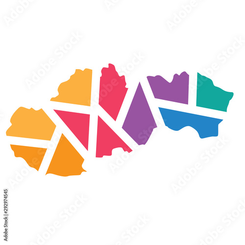 colorful geometric Slovakia map- vector illustration Canvas Print