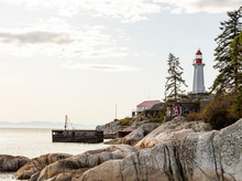 PNW Lighthouse And Rocky Shore
