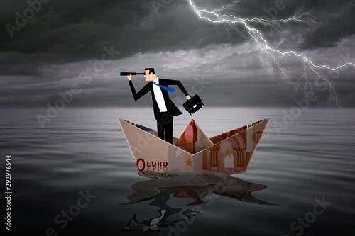 Cuadros en Lienzo Man inside a boat made with a euro bill