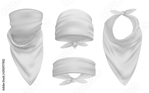 White head bandana realistic 3d accessory illustrations set Wallpaper Mural
