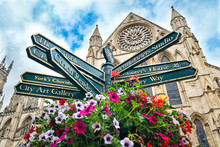 The York Minster And A Sign Wi...