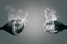 Smoking Power Plug And Socket