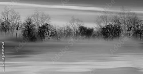 Foto auf AluDibond Dunkelgrau 3D illustration. Black and white illustration of a landscape.