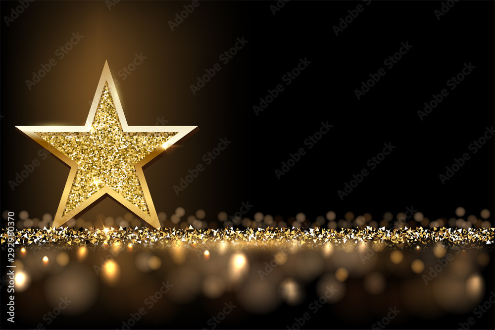 Fototapeta Golden sparkling star isolated on dark luxury horizontal background. Vector design element. - obraz na płótnie