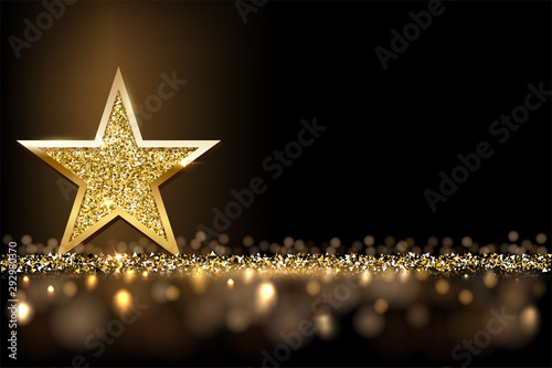 Fototapeta Golden sparkling star isolated on dark luxury horizontal background. Vector design element. obraz na płótnie