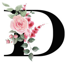 Capital Letter D For Text Design, Holiday Cards, Decor And Design Of Text Messages, Wedding Invitations. Letter On The Background Of Delicate Watercolor Flowers - Roses, Leaves, Buds, Branches.