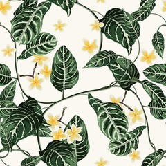 Fototapeta Egzotyczne Tropic summer painting seamless pattern with exotic liana branch and plumeria flowers. Trendy exotic flower wallpaper on white background.