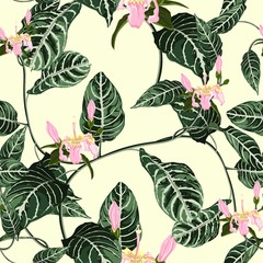 Fototapeta Do sypialni Tropic summer painting seamless pattern with exotic liana branch and pink flowers. Trendy exotic flower wallpaper on light yellow background.