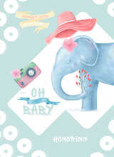 Little Baby Elephant And Pink ...