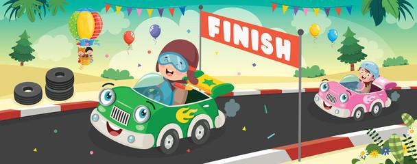 Djeca koja se utrkuju sa smiješnim automobilima
