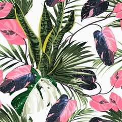 Obraz na SzkleWhite exotic monstera, pink liana branches and many kinds of plant seamless pattern. White background.