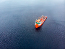 Offshore Supply Boat Sea Support Ship Oil Industry During. Aerial Top View