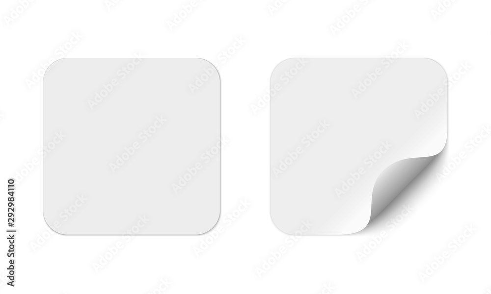 Fototapeta Blank square adhesive stickers mock up with curved corner. Mockup empty rectangular sticky label.