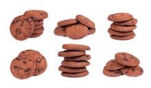 Set Of Double Chocolate Chip Cookies Isolated On White Background. Cookies With Chocolate Drops. Sweet Biscuits. Homemade Pastry.