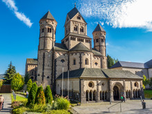 Maria Laach Abbey, A Benedictine Abbey On The Southwestern Shore Of The Laacher See, Lake Laach Near Andernach, Eifel Region, Rhineland-Palatinate Germany