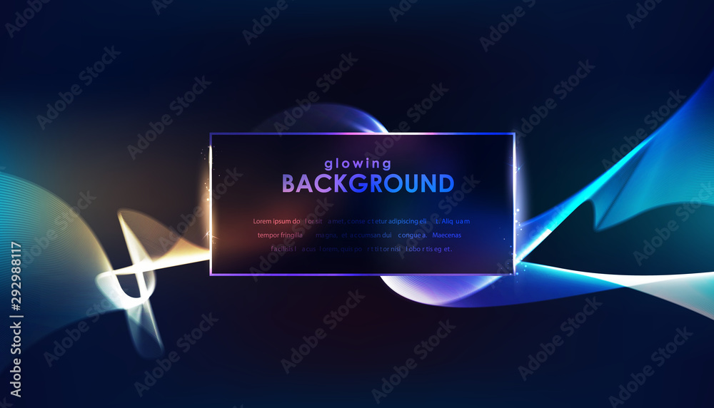 Blue luminous lines over dark background. Vector illustration.