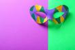 Leinwandbild Motiv Carnival mask on color background. Celebration of Mardi Gras (Fat Tuesday)