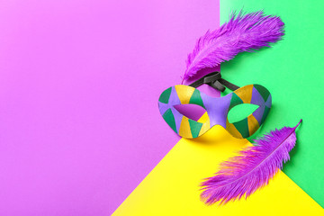 Carnival mask and feathers on color background. Celebration of Mardi Gras (Fat Tuesday)
