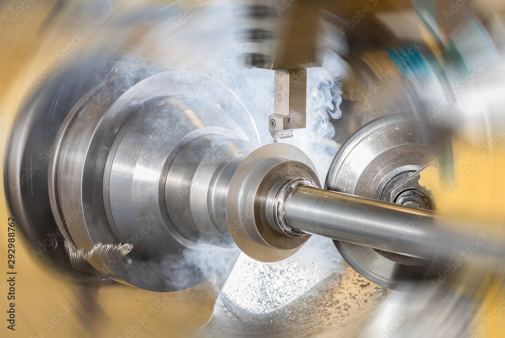Fototapety, obrazy: Spin forming and steel turning production in creative style expression