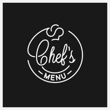 Chefs Menu Logo. Round Linear Logo Of Chef Hat