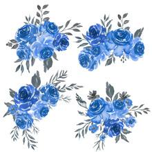 Watercolor Set Of Floral Blue Frame Arrangement
