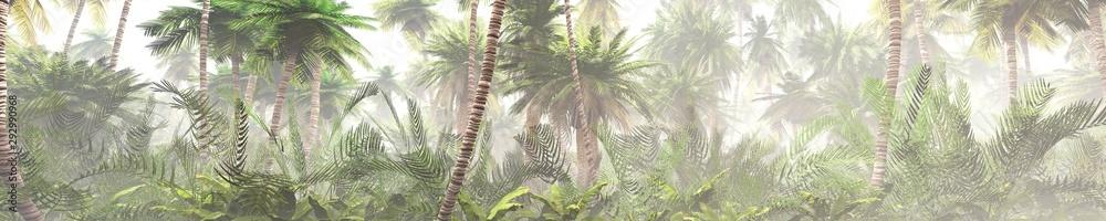 Fototapeta Tropical jungle in the fog. Palms in the morning. 3d rendering.