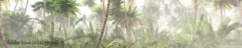 Obraz Tropical jungle in the fog. Palms in the morning. 3d rendering.	 - fototapety do salonu