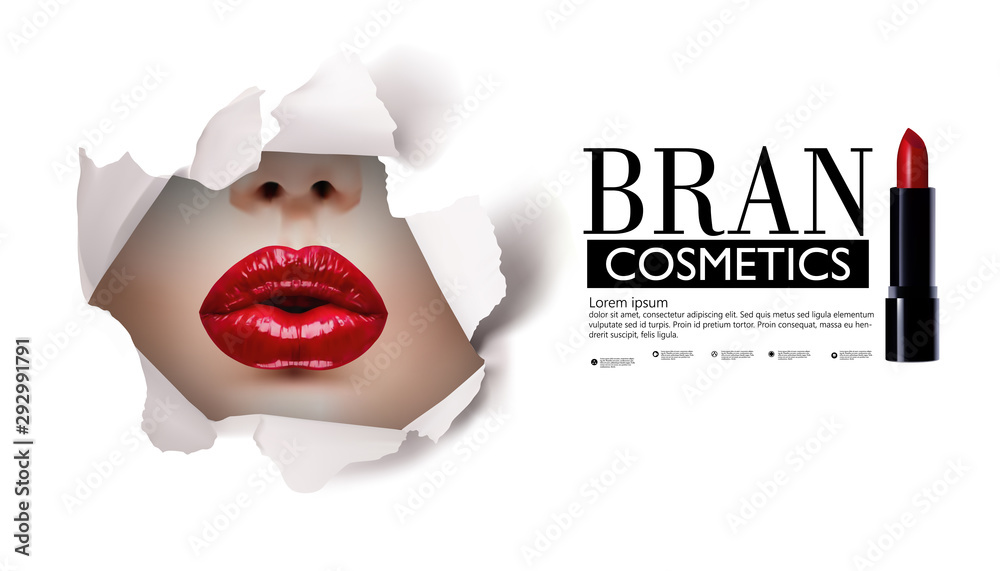 Fototapety, obrazy: Red lips look through the hole in the white paper.Beautiful model girl.beauty product illustration.
