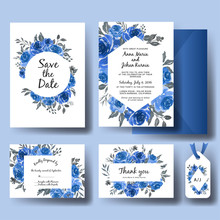 Wedding Invitation Set Of Sweet Watercolor Floral Blue Template