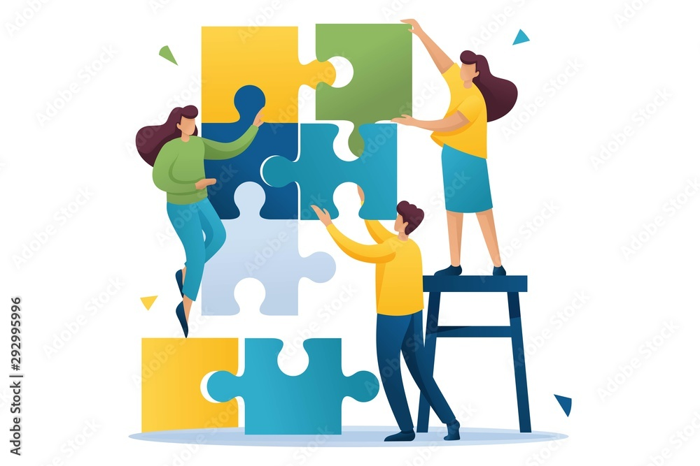 Fototapety, obrazy: Young people connecting puzzle elements, teamwork, cooperation, partnership. Flat 2D character. Concept for web design