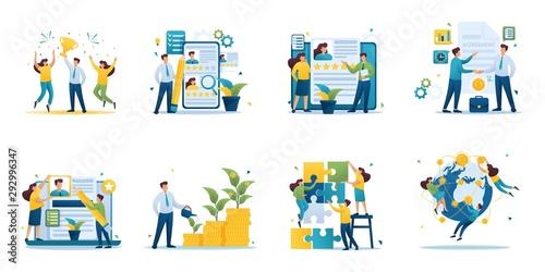 Set of mini business concepts of entrepreneurs. Concepts for web design